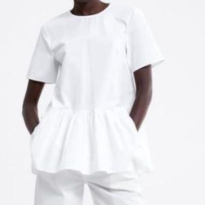 NWT Zara Ruffled Poplin Blouse